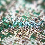 close up of conformal coated pcb